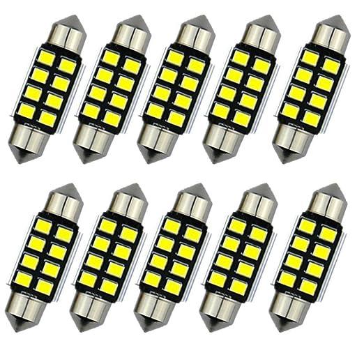 3 opinioni per katur 10pcs Lampadine C5W 36mm LED bianco puro Canbus SMD Luce della targa