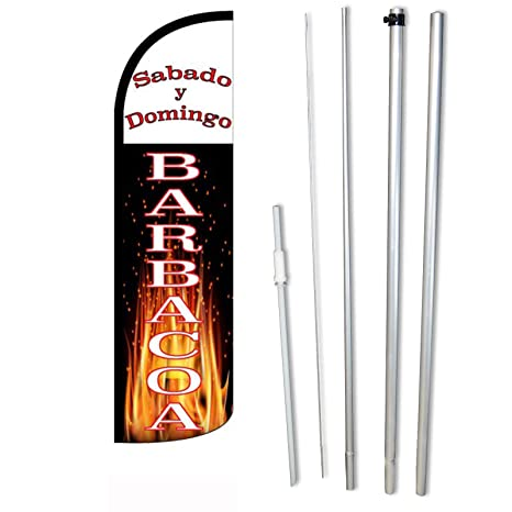 "NEOPlex -""Sabado Y Domingo Barbacoa"" Complete Windless Feather Flag Kit - Includes"