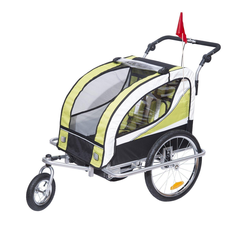 Homcom Kinderanhänger 2 in 1 Anhänger Fahrradanhänger Jogger 360° Drehbar für 2 Kinder gelb schwarz 440-001YL
