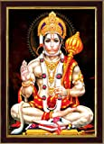 SAF Lord Hanuman Ji Sparkle Coated Digital Reprint Painting (13.25 inch x 9.25 inch)