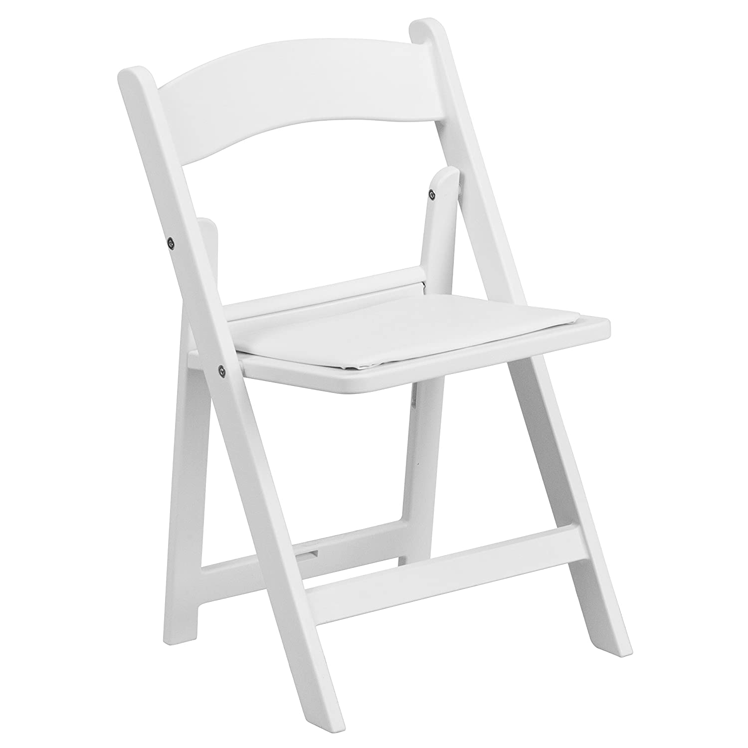 White resin folding chairs - Amazon Com Flash Furniture Kids White Resin Folding Chair With White Vinyl Padded Seat Kitchen Dining