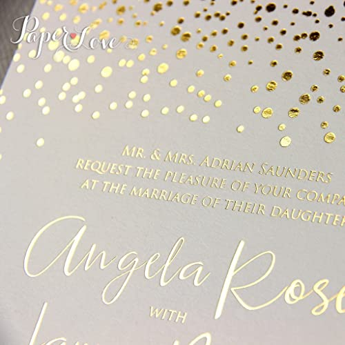Personalised Real Gold Foil Confetti Wedding Invitation Sample
