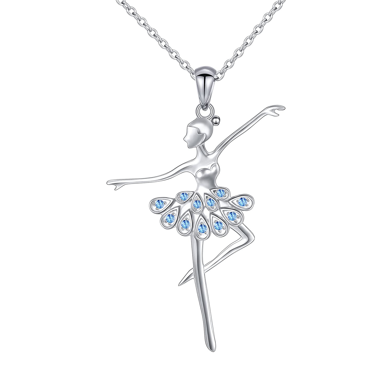 925 Sterling Silver Cubic Zirconia Ballet Dancer Necklace Gift for Women Girls,18
