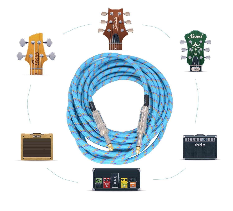 Sonobono Profesional Cable de Nivel de Estudio de grabación, Perfecto para Guitarra Eléctrica, Electroacústica, Bajo, y teclado, Suprema Calidad Trenzado ...