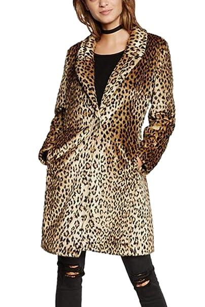 Abrigo De Leopardo De Mujer De Manga Larga Cálido Mullido ...
