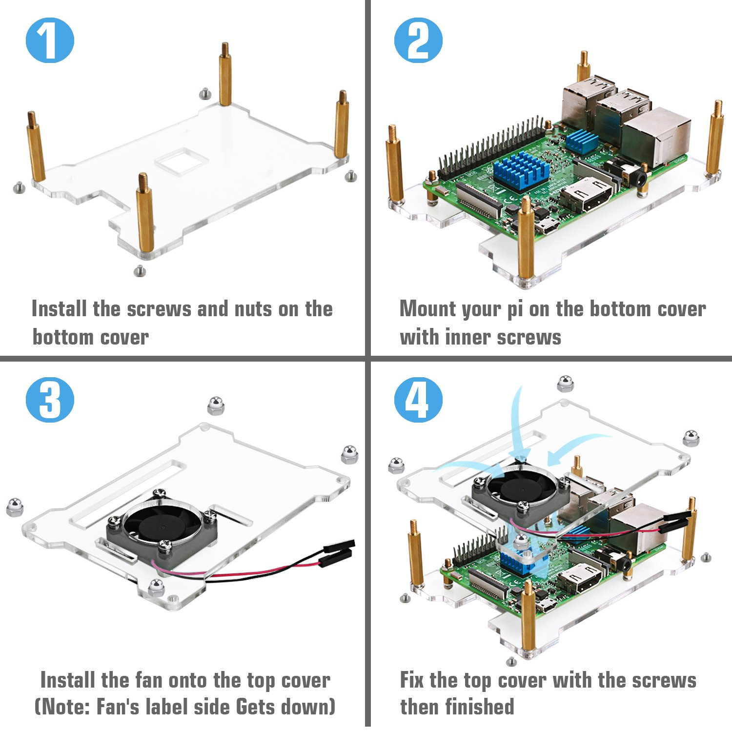 Miuzei Power Supply Battery Pack For Raspberry Pi Open Air Design Fan Wiring Diagram The Black Case Your 3 2 Model B Also Could Prefectly Fit Newest