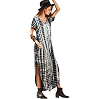 Caat Aycox Casual Maxi Short Sleeve Split Tie Dye Long Dress