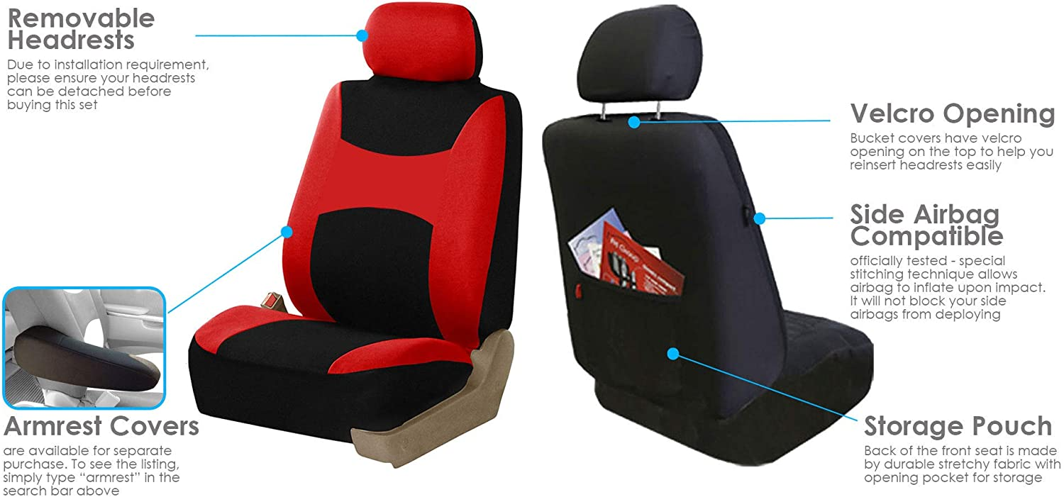 Side Airbag Compatible with Split Bench Pink FH Group FB030PINK115 full seat cover