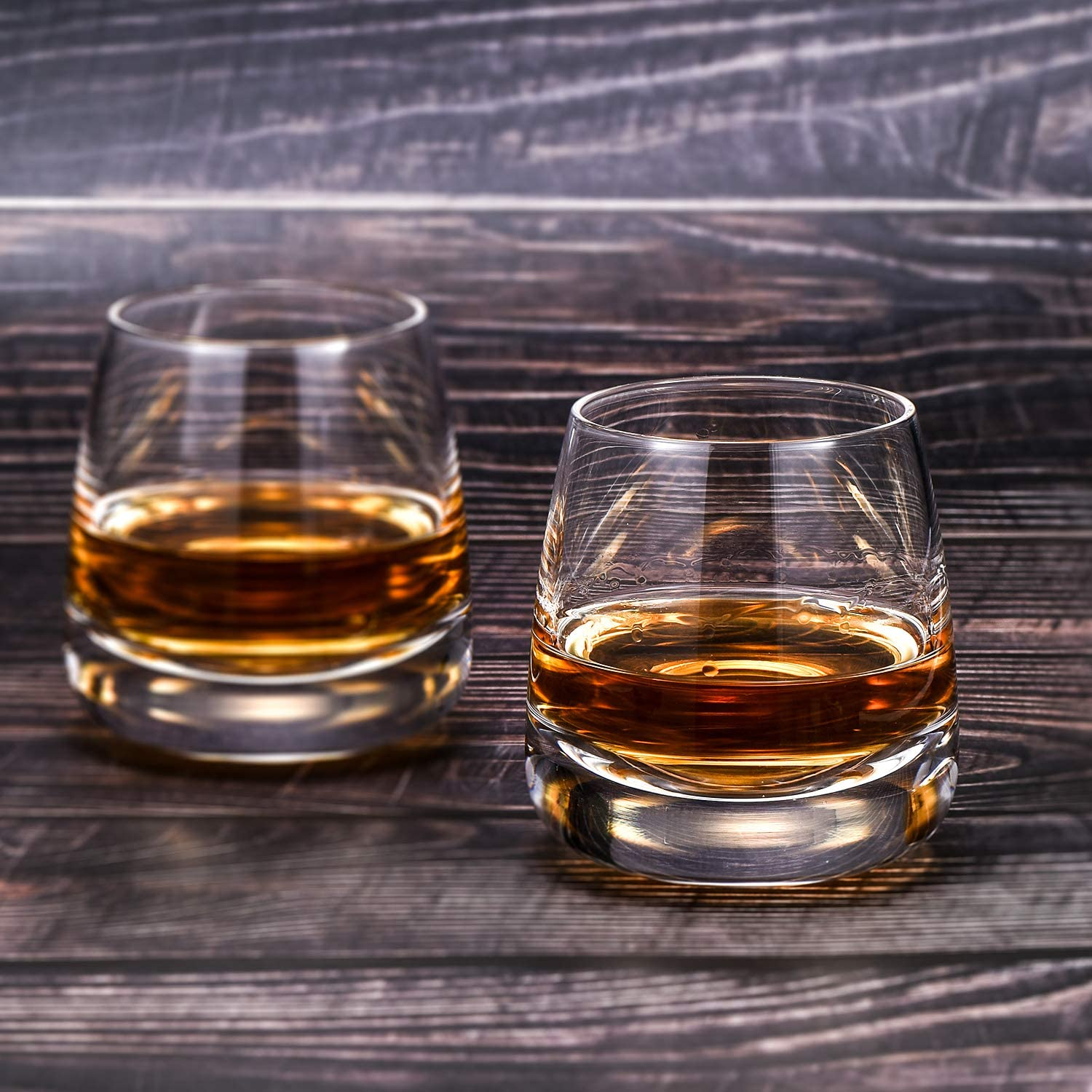 TOOWELL Old Fashioned Whiskey Glass Set of 2 Cocktails Glasses Hand Blown Scotch Glass Tumblers Heavy Base 9OZ Rocks Glasses Perfect for Bourbon Scotch Manhattans Cocktails