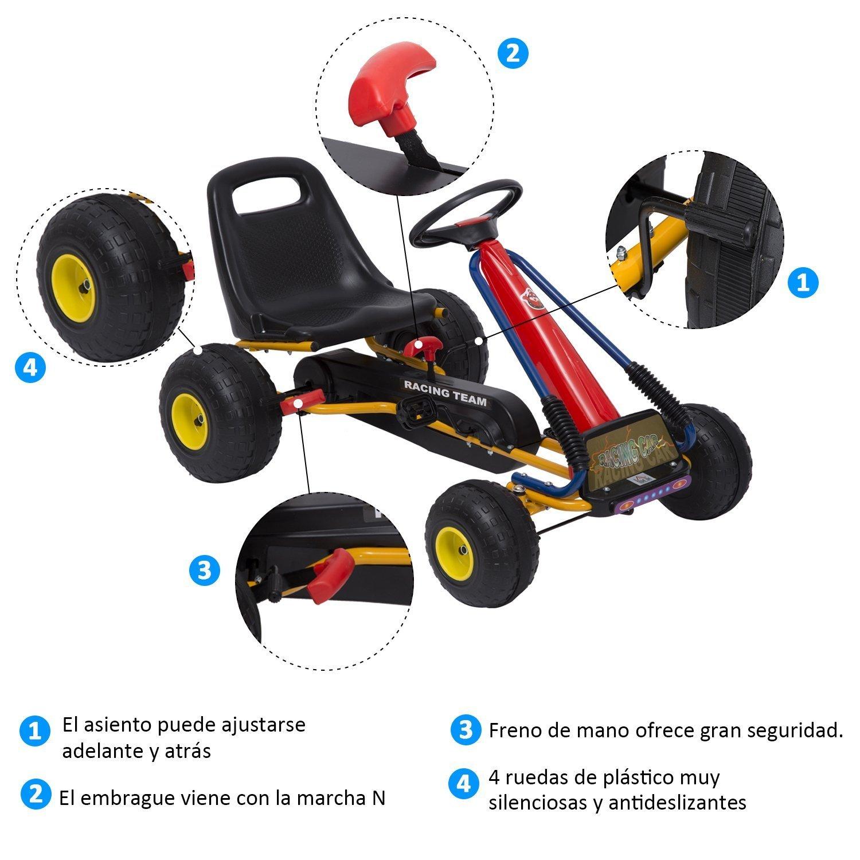 HOMCOM Go Kart Coche de Pedales Racing Deportivo para Niños 3-8 Años con Asiento Ajustable Embrague y Freno 96x68x56cm Acero Negro: Amazon.es: Juguetes y ...