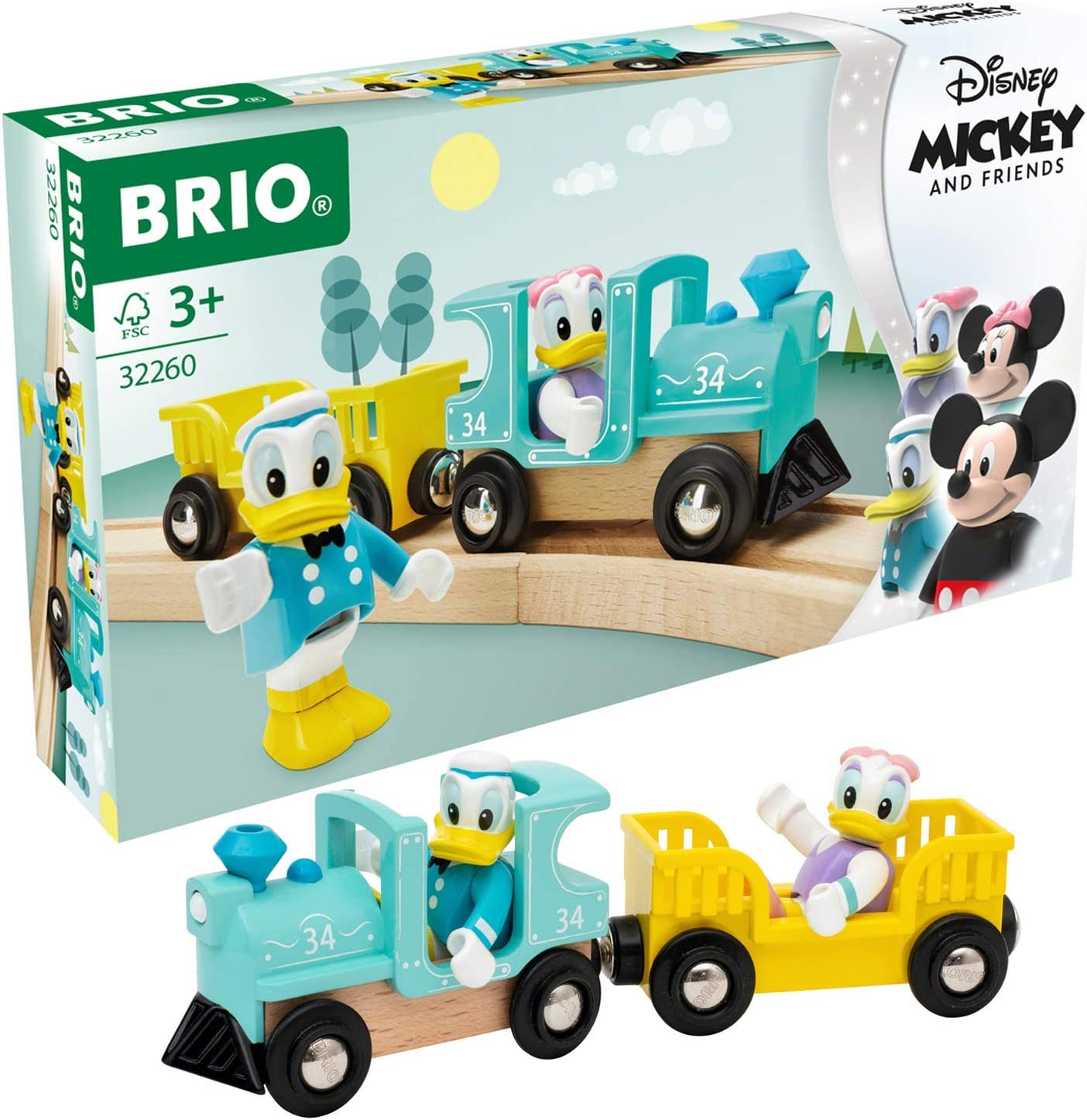 Brio 32260 Disney Mickey and Friends: Donald & Daisy Duck Train   Wooden Toy Train Set for Kids Age 3 and Up - Amazon Exclusive