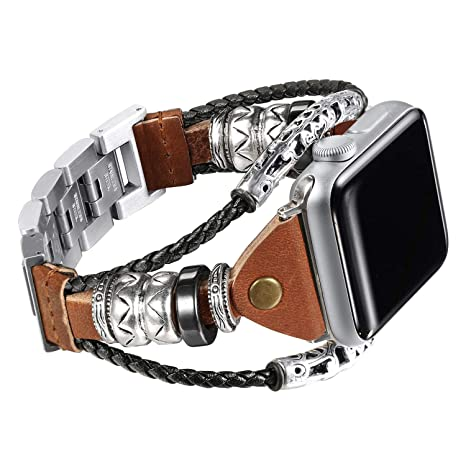 5c301c0e0fa Amazon.com  Secbolt Leather Bands Compatible Apple Watch Band Series ...