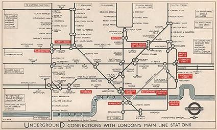 Victoria London Map.Amazon Com London Underground Main Line Rail Connections Pre