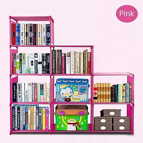 Evokem 4 Layers Kids Bookshelf Adjustable Waterproof Bookcase US Stock Pink