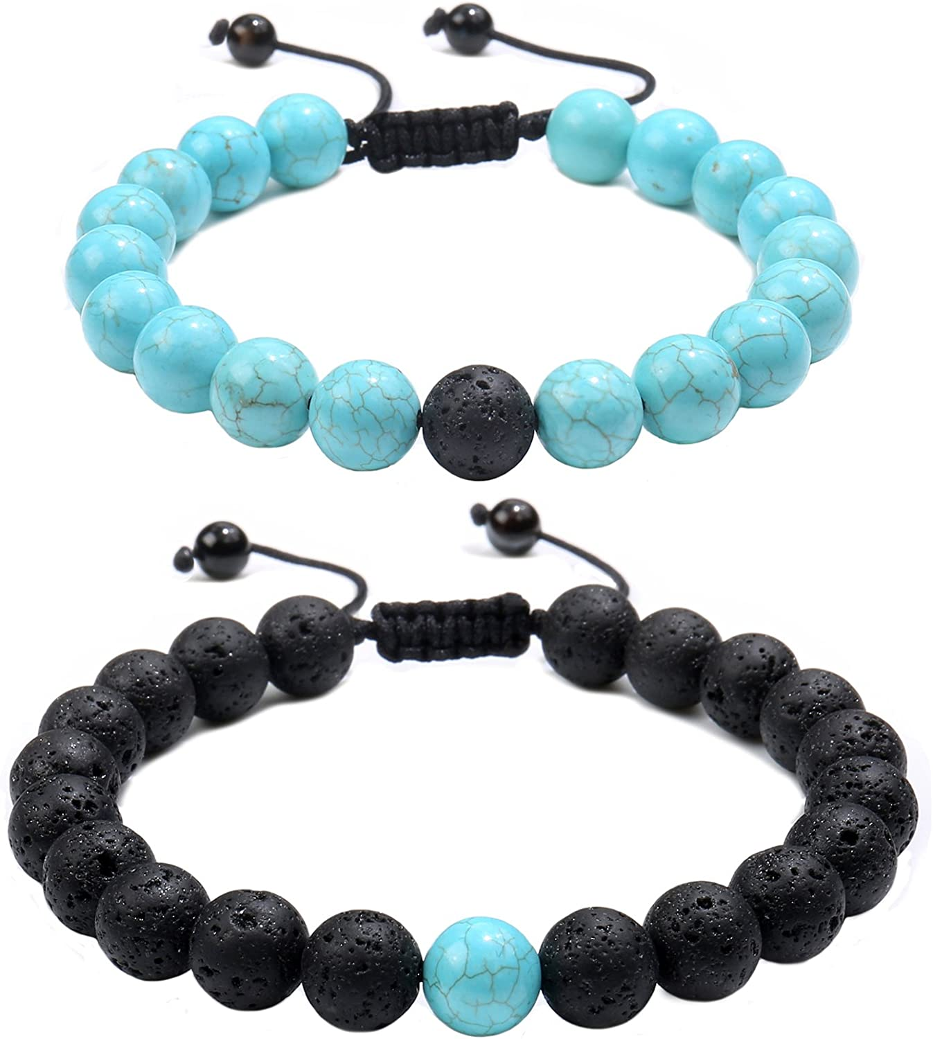 Jade cabbage Distance Relationship 8mm Beads Bracelet for Couple Set Jewelry Adjustable