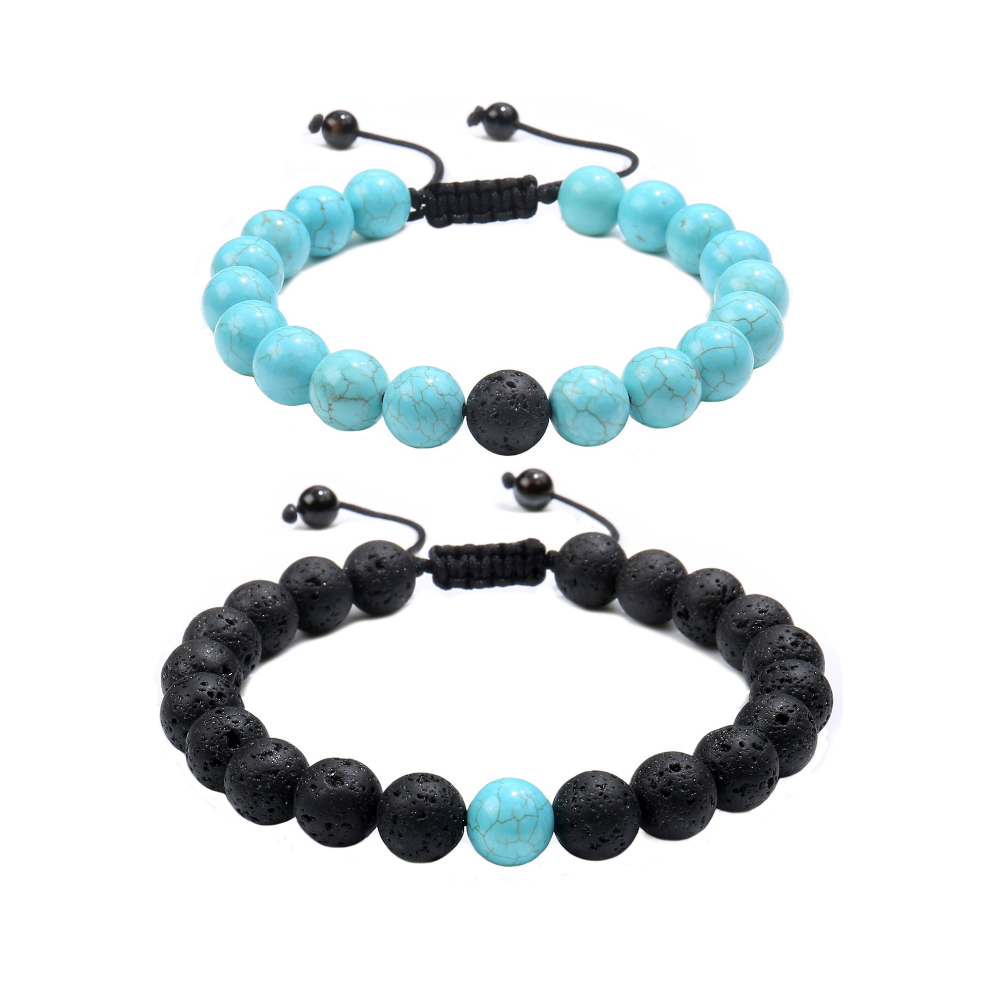 Jade cabbage Distance Relationship Beads Bracelet Couple Set Jewelry (Black Lava & Turquoise Braided)