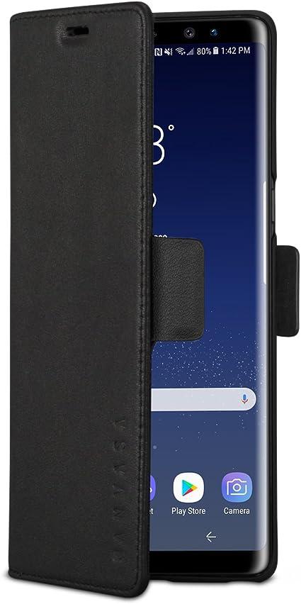 KANVASA Funda Galaxy Note 9 Tipo Libro Piel Negro Case Cover ...