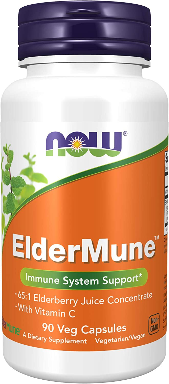 Now Supplements, ElderMune 65:1 Elderberry Juice Concentrate with Vitamin C, Immune System Support, 90 Veg Capsules