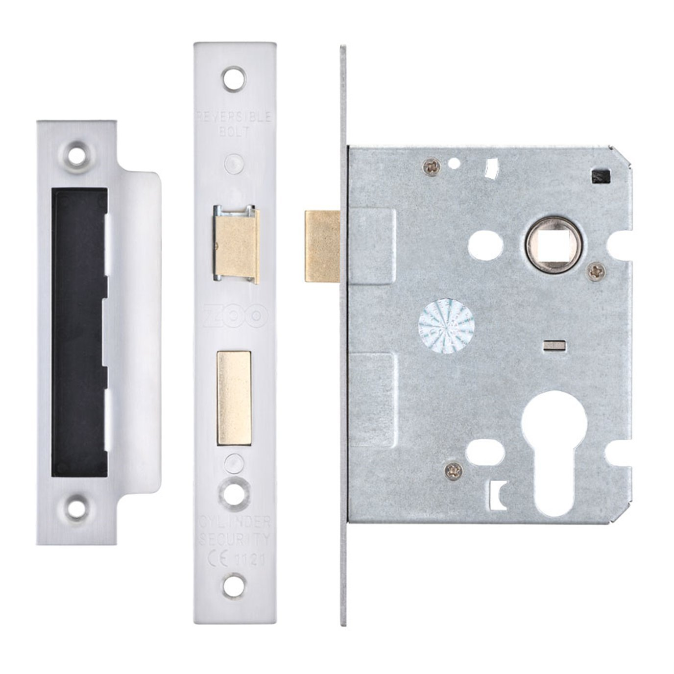 Zoo Hardware Mortice Euro Profile Sash Lock Case Body - Stainless Steel (64mm Case (44.5mm Backset))