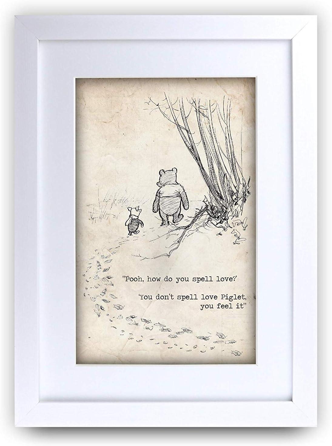 Marco de fotos con cita impresa en tama/ño A4 HWC Trading FR Winnie the Pooh Spell Feel Love