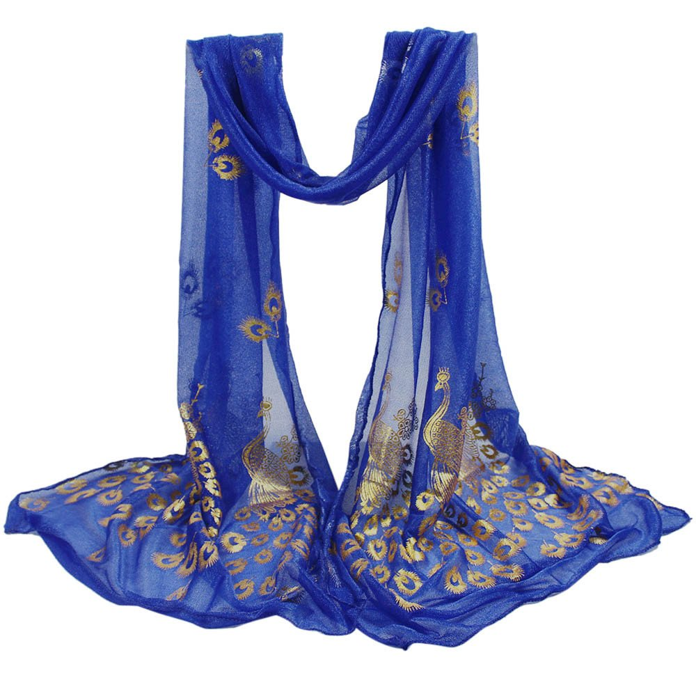 YOMXL Women Peacock Gilded Scarf Shawl Soft Wrap Stole Solid Color Long Scarf Lightweight Head Wrap Shawl Cape (Blue)
