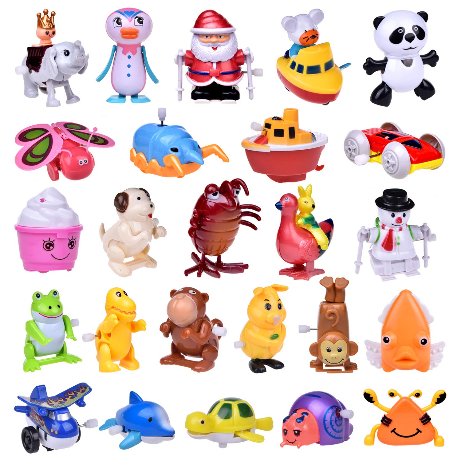 Wind Up Toys 25 PCs Assorted Animal Toys for Kids Party Favor, Easter Egg Fillers, Goodie Bag, Kids Prizes (More Than 2 Dozen)