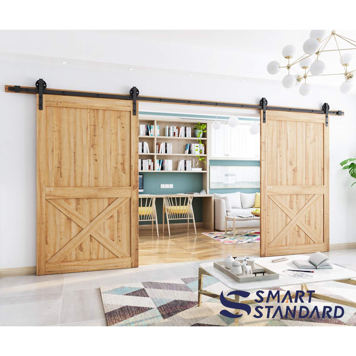 16ft Double Door Sliding Barn Door Hardware Kit - Smoothly and Quietly - Easy to Install - Includes Step-by-Step Installation Instruction -Fit 42''-48'' Wide Door Panel(Big Industrial Wheel Hanger) by SMARTSTANDARD (Image #2)