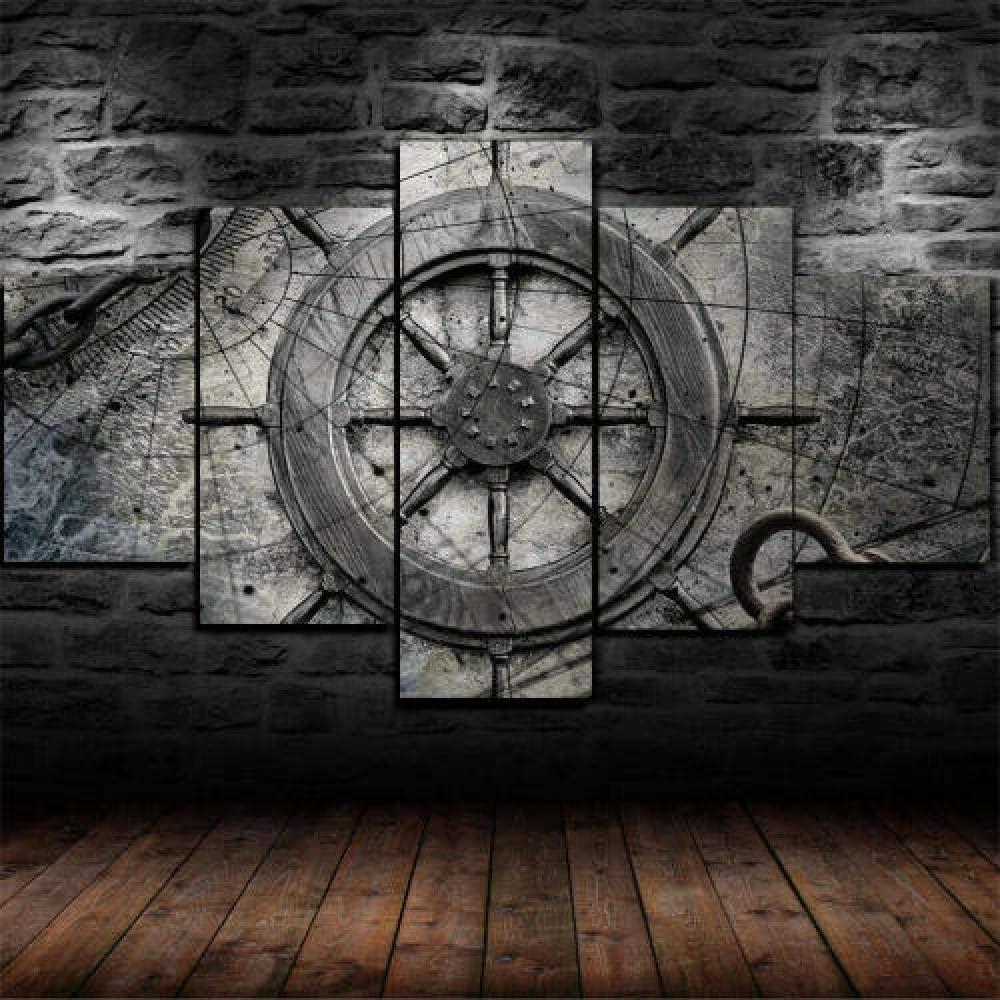 Hgjfg Lona Murales Cuadro moderno en lienzo 5 piezas XXL Impresiones En Rueda de barco vintage collage náutico Hd Arte De Pared Imágenes Modulares Sala De Estar Decoración Para El Hogar 150X80Cm