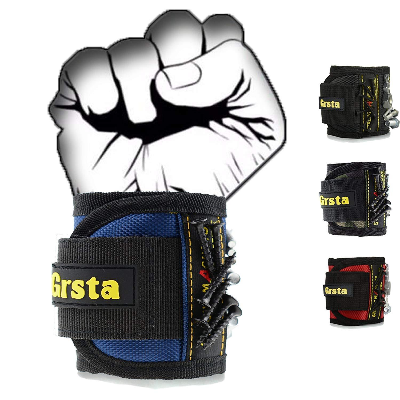 Grsta Bracelet magné tique avec 15 des aimants forts pour Les vis de Maintien, Clous, tré pans de Forage - Best Tool Cadeau pour Bricoleur Handyman, Hommes, Femmes(Bleu) trépans de Forage - Best Tool Cadeau pour Bricoleur Handyman