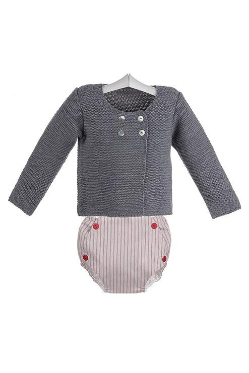 Ancar - Conjunto de ranita de rayas rojas y chaqueta para bebé - 12 meses,