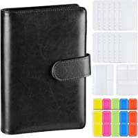 A5 Leather Notebook Binder with 14pcs A5 Plastic Binder Pockets, Refillable 6 Round Ring A5 Personal Planner Binder…