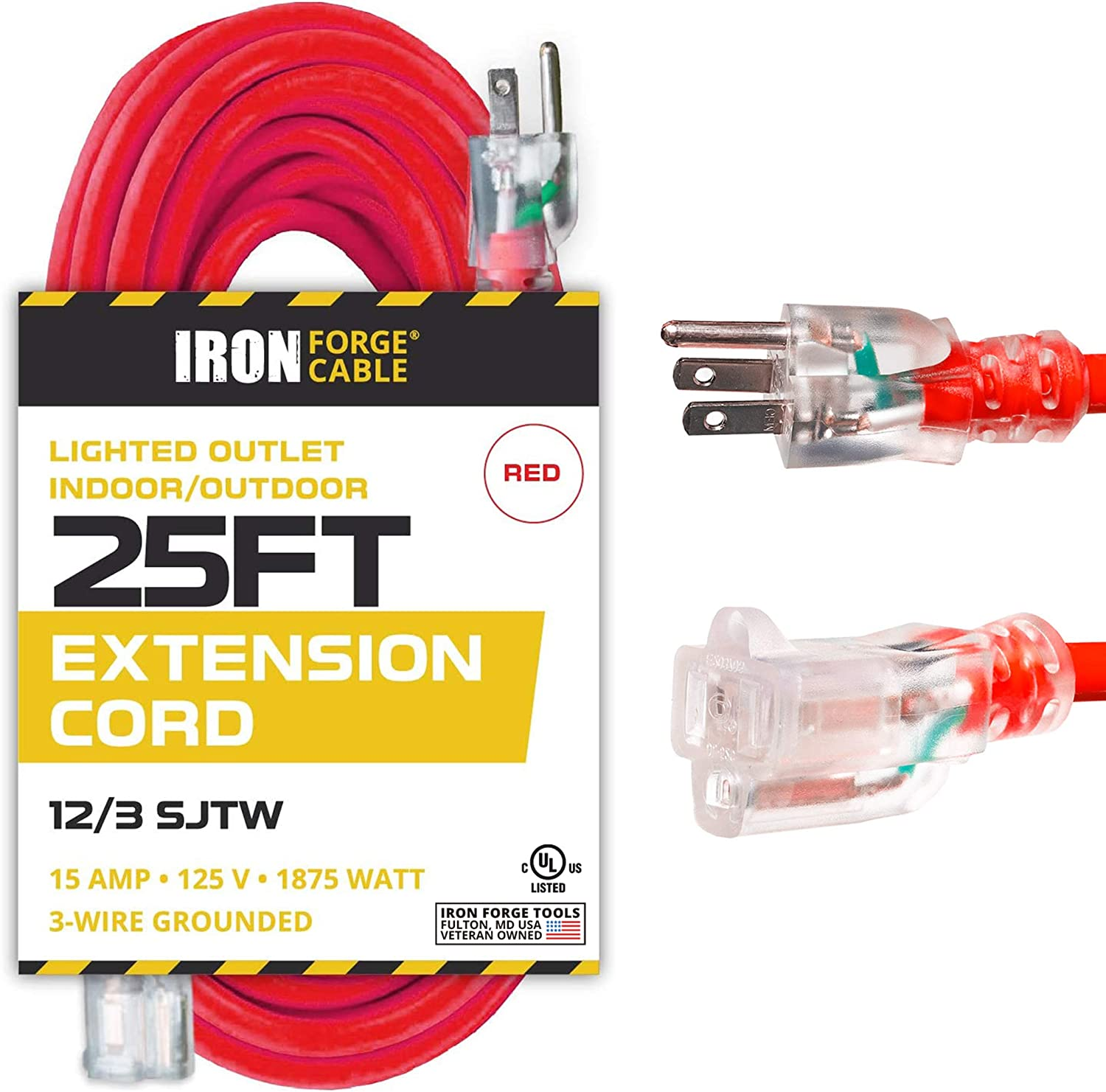 Iron Forge Cable 25 Ft Lighted Extension Cord - 12/3 SJTW Heavy Duty Red Outdoor Extension Cable with 3 Prong Grounded Plug for Safety - Great for Garden & Major Appliances
