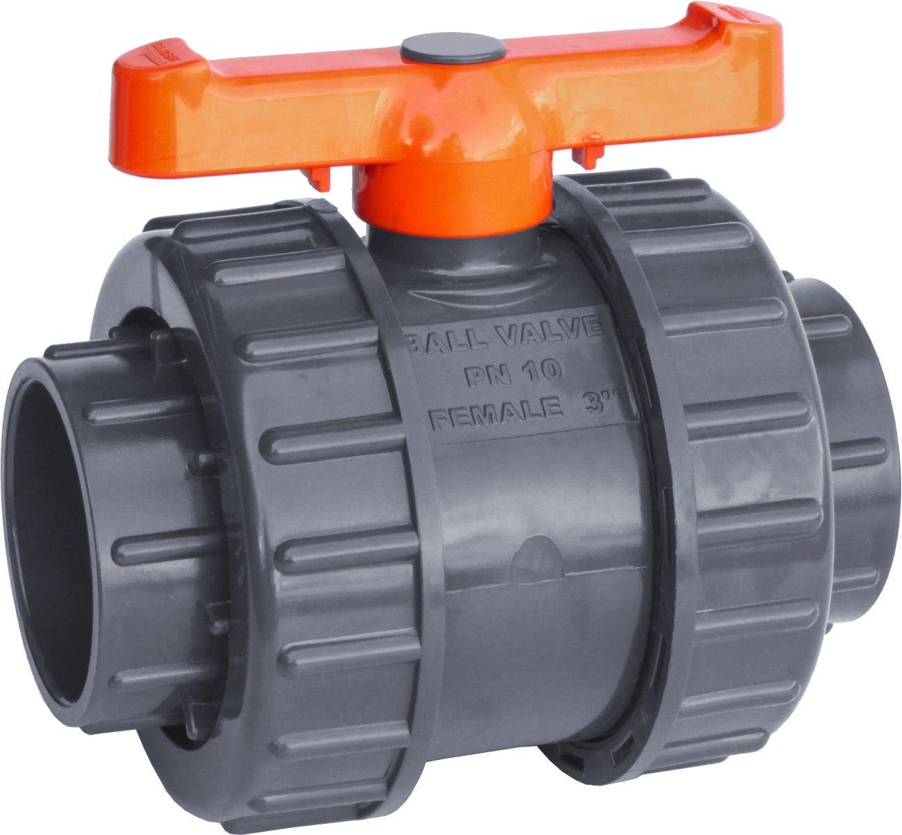 "IrrigationKing RKBV3O Double Union PVC Ball Valve Slip/Weld, 3"""