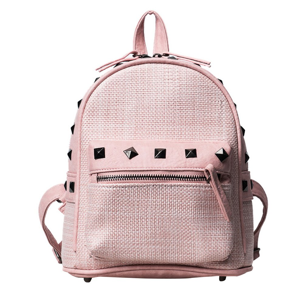 Gowind7 Women Leather Backpack Girls Straw Weaving Small Small School Bag Shoulder Bag Rivet Backpack Casual Bag