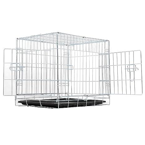 EUGAD Jaula Metálica para Perros Mascotas Dos Puertas Transportín Plegable para Mascotas Dos Puertas M/