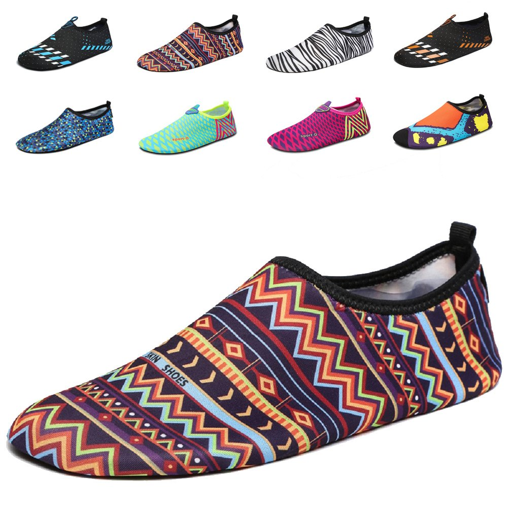 LAROK Men And Women's Quick-Dry Sport Barefoot Water Shoes Aqua Socks For Beach Surf Yoga Exercise,NHS01,Multicolor, 40