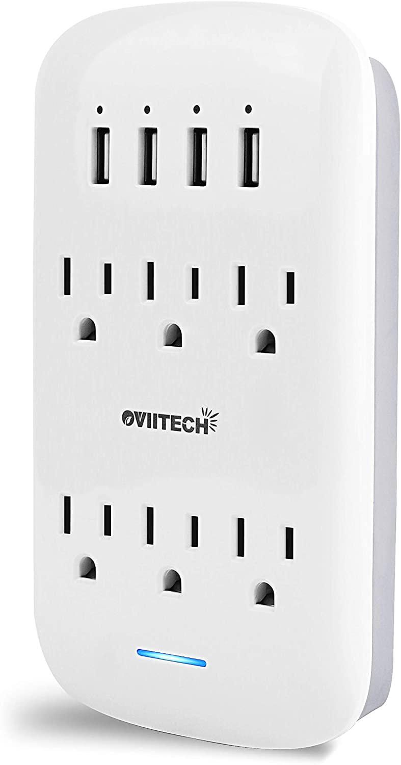 Oviitech 6 Outlet Extender with 4 USB Charging Ports(4.2A Total),Wall Mount Outlet Plugs 900 Joules Wall Surge Protector And Top Phone Holder,ETL Listed,White.