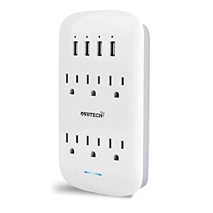 Amazon.com: Adaptador de pared con 6 tomacorrientes con ...