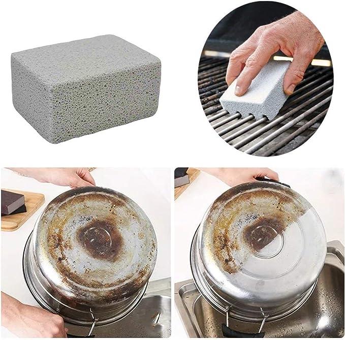 Magiin Paquete de 4 bloques de limpieza de piedra pómez gris para limpiar parrillas, desinfectar parrillas de restaurante, parrillas planas