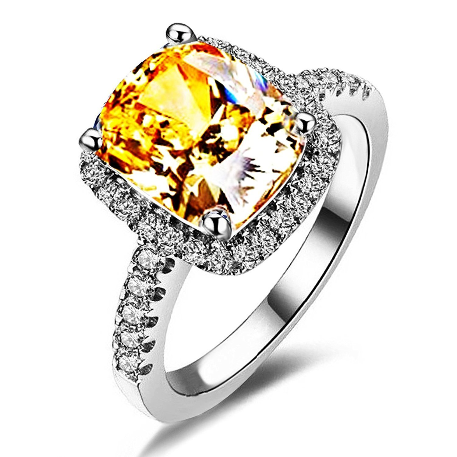 Mothers Day Gifts 2ct Princess Cut Yellow Topaz CZ Wedding Engagement Bridal Anniversary Rings Jewelry 18K White Gold Plated (10)