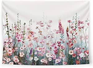 SUMGAR Colorful Flowers Tapestry Wall Hanging Pink Floral Romantic Wildflower Plants Nature Scenery Tapestries Decoration for Bedroom Living Room, 80 x 60 inch