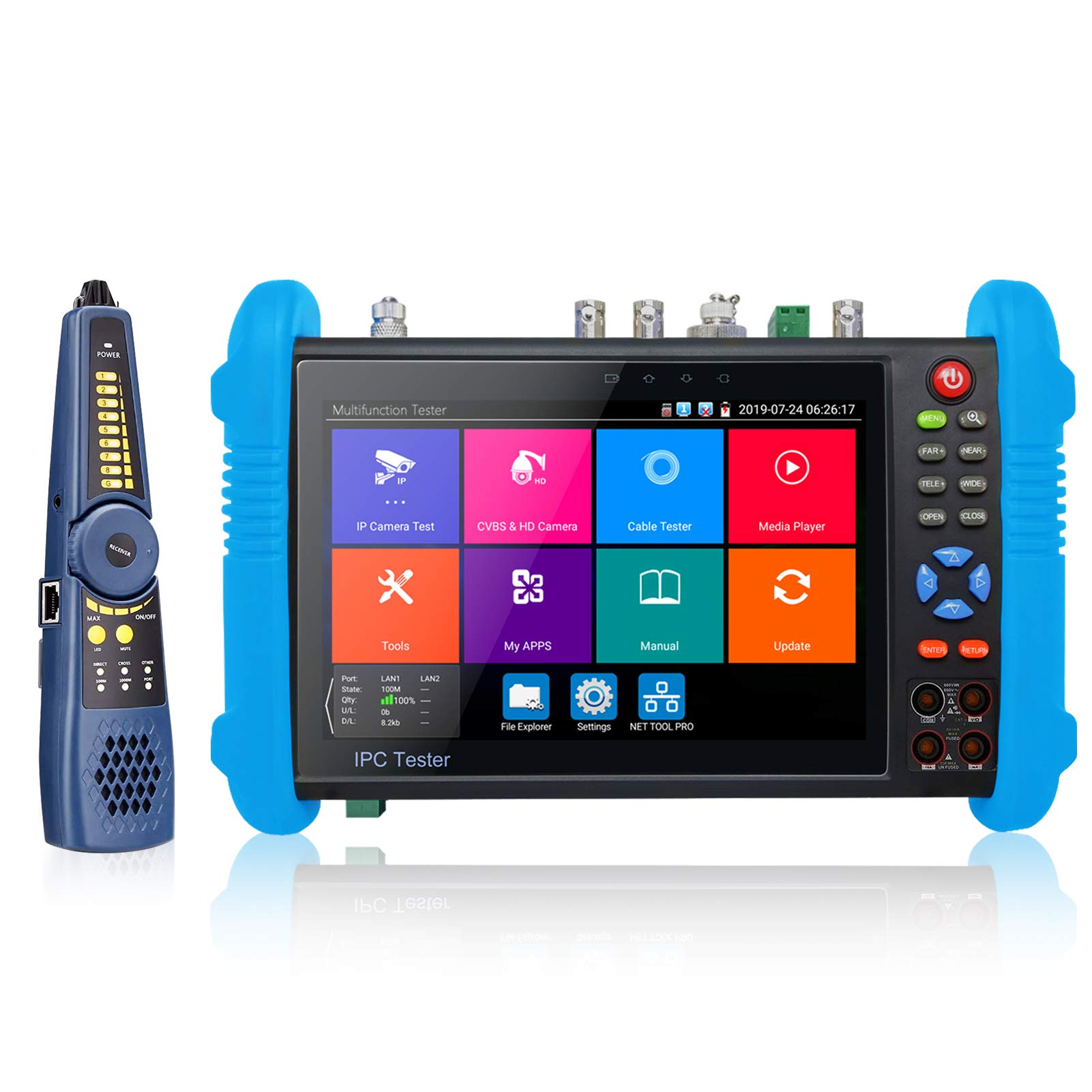 Rsrteng IPC-9800MOVTADHS Plus+ Full Features CCTV Camera Tester 7-inch IPS Touch Screen Monitor CCTV Tester with HD-TVI HD-CVI AHD SDI IP Camera Support DMM OPM VFL TDR Features POE WIFI 4K H.265 HDMI