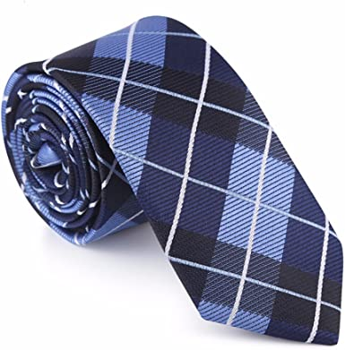 HXCMAN 6cm azul marino azul claro cuadros estrecha corbata Diseño ...
