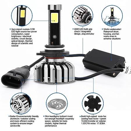 Amazon.com: Eaglerich LED Headlight Bulbs Conversion Kit-9006 Cob 80w 8000lm 6000K Cool White,50,000 HOURS: Automotive