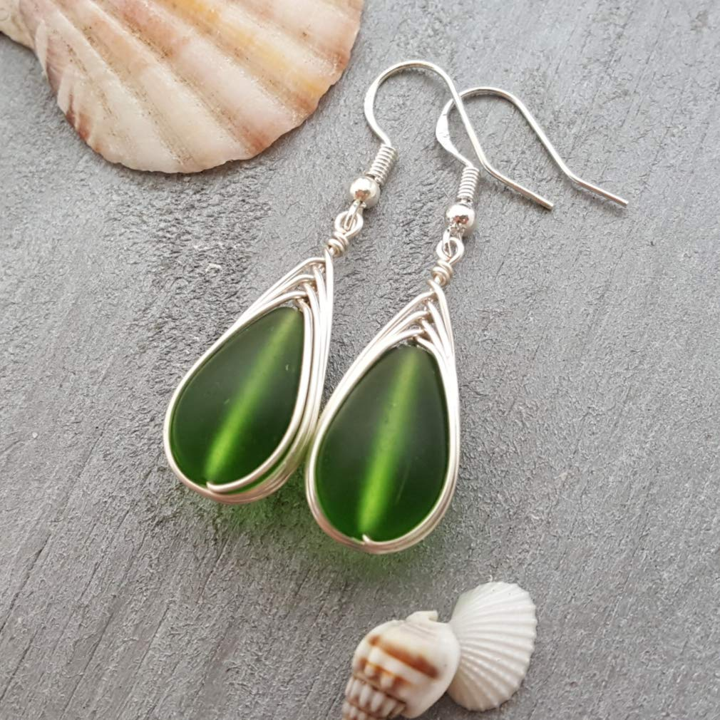 FREE gift message Handmade jewelry from Hawaii Hawaiian Gift sterling silver hooks FREE shipping FREE gift wrap wire braided Emerald sea glass earrings,May Birthstone