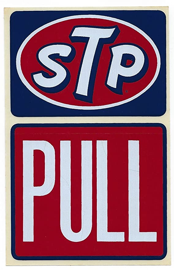 Amazon.com: STP Pull Racing Decal Sticker 3-3/4 Inches Long Size Vintage  Door Signage: Automotive