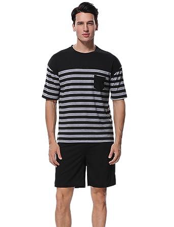 8d33ba5e998 Aibrou Men s Summer Sleepwear Short Sleeve Striped Cotton Shorts and Top  Pajama Set