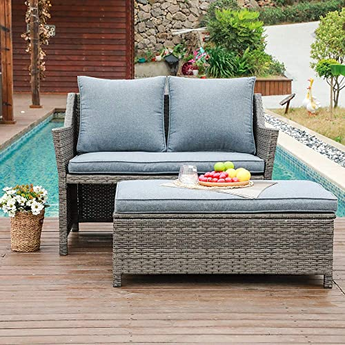 OC Orange-Casual 2-Piece Outdoor Patio Furniture Wicker Love-seat and Coffee Table Set