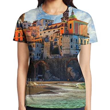 f6dc005d HVKZLL Amalfi Coast Positano Printing Short-Sleeved T Shirts For Women