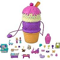 Polly Pocket HFR00 - Uitklapbare funbox ijshoorntje, speelset in de vorm van een ijshoorntje, speeltuin thema, drie…